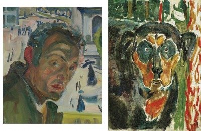 Edvard Munch Self-portrait in Bergen, 1916 (left); Head of a Dog, 1942 (right) Oil on canvas (Bergen) and wood panel (Dog)