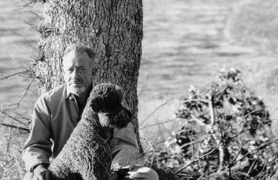John Steinbeck and the family dog Charley