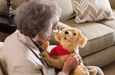 A nursing home resident interacts with her robotic dog companion