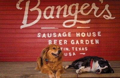 Dogs are welcome at a host of dining and drinking establishments throughout Austin, including Banger's Sausage House and Beer Garden.