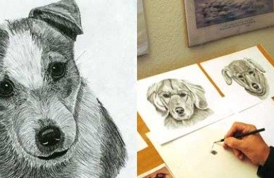 Jack Russell Terrier drawing from 2000, and Paul Atzmiller at his drawing table.